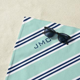Minze des Monogramm-3-Letter und blaue Streifen Strandtuch