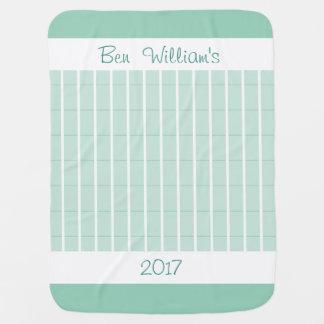 Minze-Kariert-Monogramm-Baby-Decke-Zwei-Mit Seiten Puckdecke