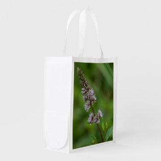 Minze-lila Wildblume-wiederverwendbare Tasche Wiederverwendbare Einkaufstasche