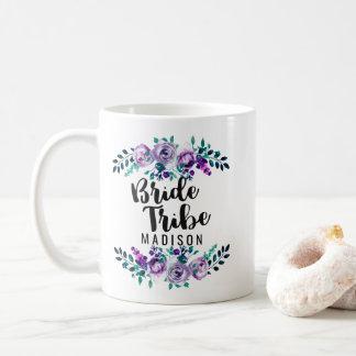 Minze u. lila Blumenwreath-Hochzeits-Braut-Stamm Kaffeetasse