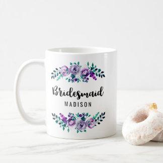 Minze u. lila Blumenwreath-Hochzeits-Brautjungfer Kaffeetasse