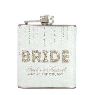 Minzen-u. GoldGlitter-Blick-Braut-Flasche