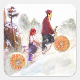 MIRIAM - Liu Xiang's Tandem cycle Quadratischer Aufkleber