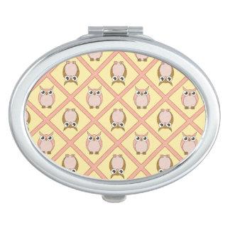 Miroir compact de hiboux de crèche - rose