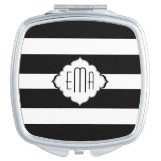 Miroir De Voyage Motif géométrique 2 de rayures noires et blanches