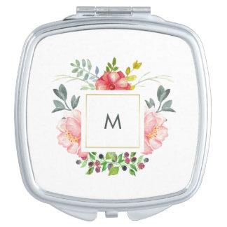 Miroirs De Voyage Fleurs assez roses de pivoine avec le monogramme