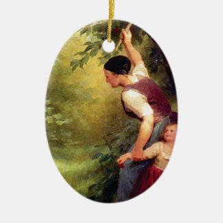 missbräuchliche Frau Ovales Keramik Ornament