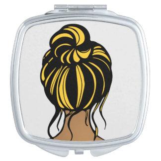 Missouri-Mädchen-schwarzer und gelber kompakter Schminkspiegel