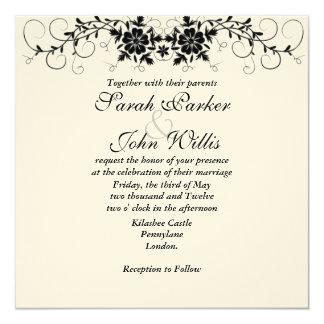 Mit Blumen blühen Sie Hochzeit einladen Quadratische 13,3 Cm Einladungskarte