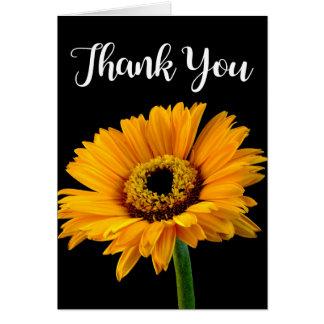 Mit Blumen danke gelb-orangees Blumen-Schwarzes Karte
