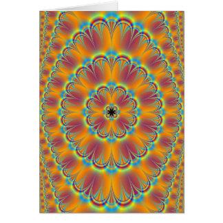 Mit Blumen in der grünen und orange Karte