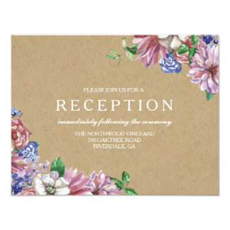 Floral in Love Wedding Reception Cards
