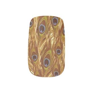Mit Federn versehener Entwurf Browns Pfau Minx Nagelkunst