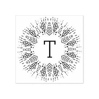 Mit Federn versehenes Monogramm Gummistempel