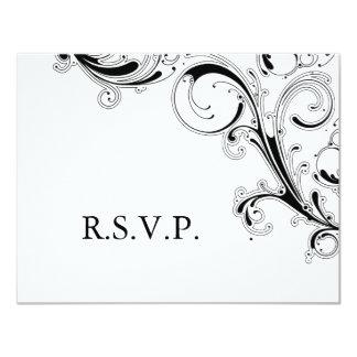 Mit Filigran geschmückter Strudel schwarzes/weißes 10,8 X 14 Cm Einladungskarte