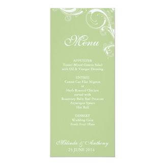 Mit Filigran geschmücktes Strudel-Grün 10,2 X 23,5 Cm Einladungskarte