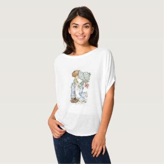 """""""Mit Liebe"""" Flowy Kreis-Spitzenweiß T-Shirt"""