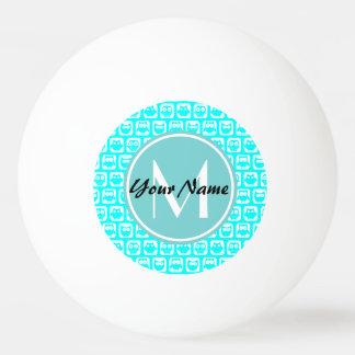 Mit Monogramm Aqua-Türkis-Eulen Tischtennis Ball