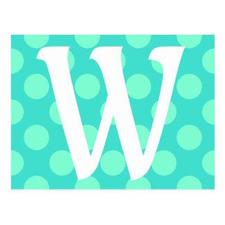 Mit Monogramm Aquamarine-Punkte Postkarte