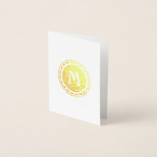 Mit Monogramm ausgebogter Rand-Goldkreis Folienkarte