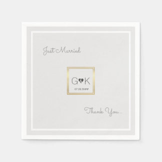 mit Monogramm blasse graue Hochzeit Papierservietten