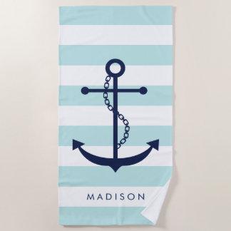 Mit Monogramm blauer Anker auf hellblauen Streifen Strandtuch