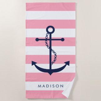 Mit Monogramm blauer Anker auf rosa Streifen Strandtuch