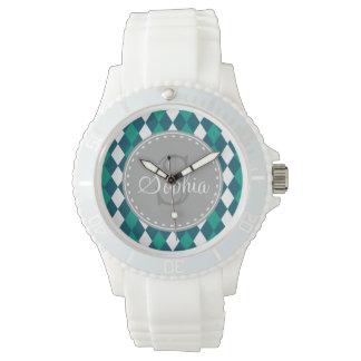 Mit Monogramm blaues Grün Diamdons Muster Armbanduhr