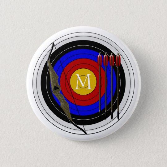 Mit Monogramm Bogenschießen-Entwurf Runder Button 5,7 Cm