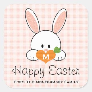 Mit Monogramm glückliches Osterhasen-Siegel-rosa Quadratischer Aufkleber