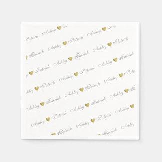 mit Monogramm + GoldLiebeherzen, wedding Papierservietten