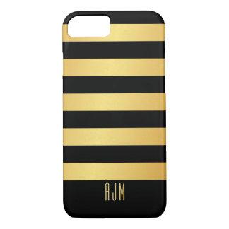 Mit Monogramm Goldstreifen auf schwarzem iPhone 8/7 Hülle