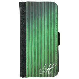 Mit Monogramm grüner Streifen-Telefon-Kasten iPhone 6/6s Geldbeutel Hülle