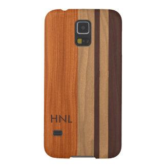 Mit Monogramm Holz Stripes Muster Galaxy S5 Hüllen