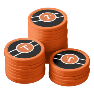 Mit Monogramm ~ Orange Poker Chips