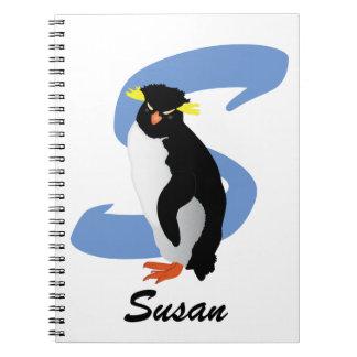 Mit Monogramm Penguin mit Namen u. Initiale Notizblock