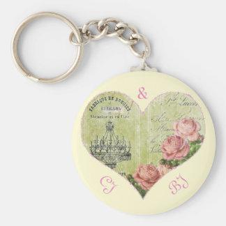 Mit Monogramm romantische Herz-Rosen-französisches Schlüsselanhänger
