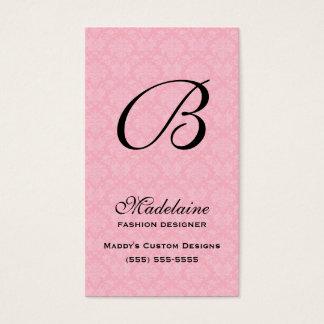 Mit Monogramm rosa Damast und Schwarzes Visitenkarte