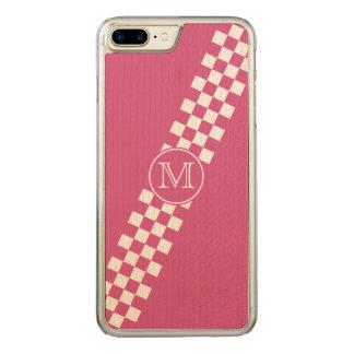 Mit Monogramm rosa Diagonale, die Karos läuft Carved iPhone 8 Plus/7 Plus Hülle