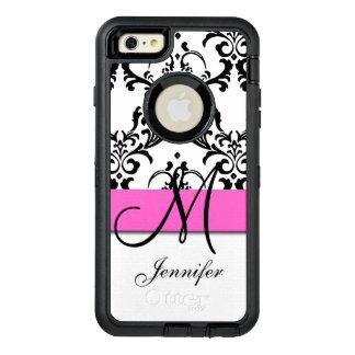 Mit Monogramm rosa Schwarz-weißer Wirbels-Damast OtterBox iPhone 6/6s Plus Hülle