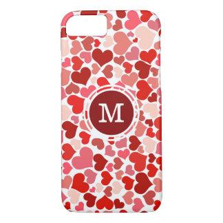 Mit Monogramm rosa u. rotes Herz-Muster iPhone 8/7 Hülle