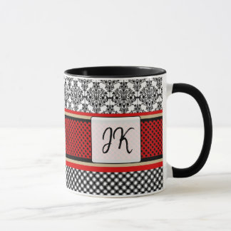 Mit Monogramm Rot, schwarze extravagante Tasse