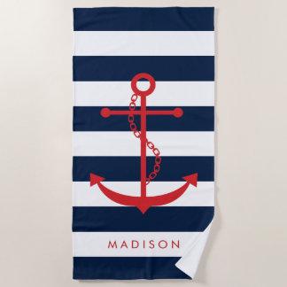 Mit Monogramm roter Anker auf Marine-Streifen Strandtuch