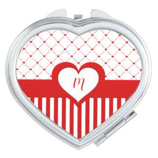 Mit Monogramm Rotes u. Weiß Stripes Herz-Muster Schminkspiegel