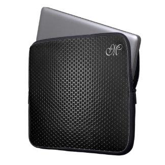 Mit Monogramm schwarze MetallLautsprecher-Masche Laptop Sleeve