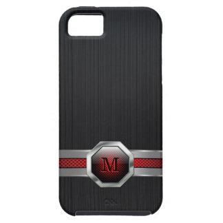Mit Monogramm schwarzer metallischer Hintergrund iPhone 5 Case