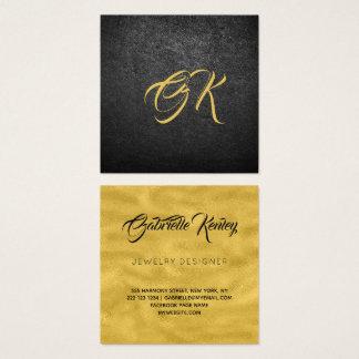 Mit Monogramm schwarzes ledernes Luxusgold Quadratische Visitenkarte
