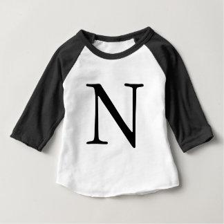 Mit Monogramm schwarzes zuerstt-Shirt Buchstaben N Baby T-shirt