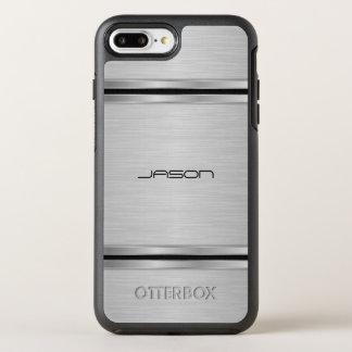 Mit Monogramm Silber und schwarzer metallischer OtterBox Symmetry iPhone 8 Plus/7 Plus Hülle