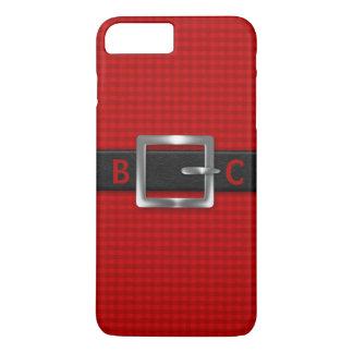 Mit Monogramm verzogener schwarzer Gurt auf rotem iPhone 7 Plus Hülle